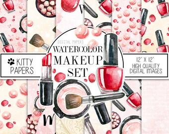 Fashion paper pack, makeup digital paper, fashion illustration, makeup illustration, planner girl paper pack, makeup pad, planner stickers