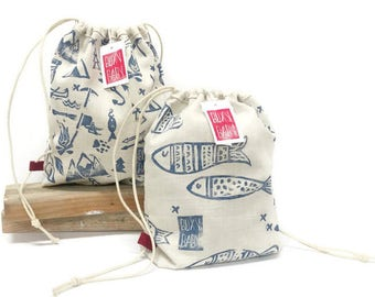 Handmade Baby/Toddler Linen Drawstring Backpack,  Handstamped Linen, Buxy Baby