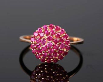Ruby Ring , Solid 14K Rose Gold with 1 Carat Ruby Fashion Ring, Gemstone Ring