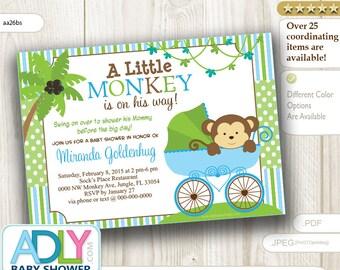 Blue Monkey Stroller Baby Shower Invitation card, Cute little monkey boy is on the way card for boy baby shower,blue green -  aa26bs