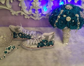 Hand Made Quinceanera Shoes and Flower Bouquet