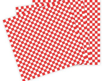 "60 Wax Paper Sheets Red Check Food Basket Liner 12"" x 12"" Red White Checkered Wrap"