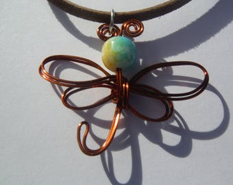 Wire wrapped butterfly necklace, wire butterfly, butterflies, butterfly necklace, spring necklace