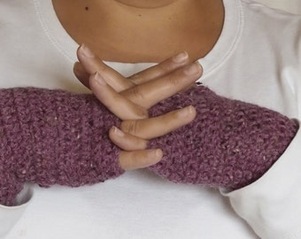 Fingerless mitts (child/teen) in a tweedy blue, crocheted, wristwarmers, alpaca, warm and cosy, practical, ideal gift