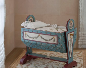 Dollhouse Cradle . 1 12 scale. Handpainted. Handmade linen with old materials.