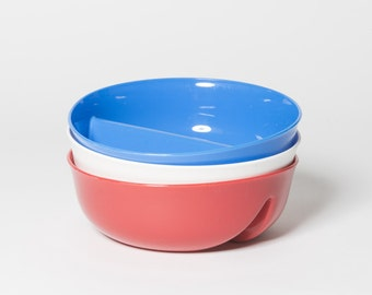 3 pack! Just Crunch Anti-Soggy Bowl! For Cereal/Milk, Veggies/Dip, Fries/Ketchup and More! - Red, White & Blue
