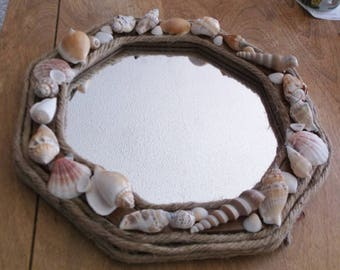 nautical mirror natural shells and rope 8sided frame 12u201d across