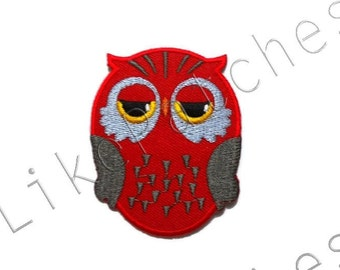 Owl Patch - Red Super Cute Owl New Sew / Iron On Patch Embroidered Applique Size 5.3cm.x6.7cm.