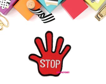 Stop Sign - Red Hand Stop New Sew / Iron On Patch Embroidered Applique Size 7.3cm.x8cm.