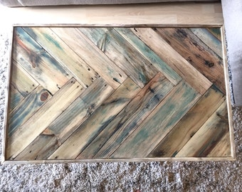 Light Herringbone Reclaimed wood Livingroom coffee table w/ rose gold hairpin legs Mid century Modern Rustic