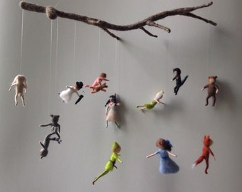 Neverland mobile with felted figures, peterpan wendy, john and micheal and the 6 lost boys.