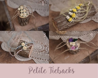 Baby Newborn Flower Tieback, Headband, Photography Prop, Pink, Yellow, mint, purple, cream, petite tieback, Newborn Tieback, sets, jute