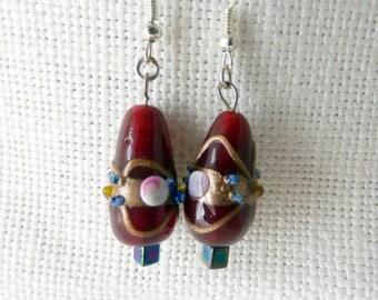 Glass Pattern Drop Earrings