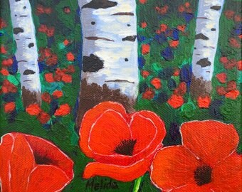 Aspens and Poppies 2 Painting, Red Poppies, Aspens Original Painting, Wildflowers, Art,  6x6in, Gift Idea, MADE TO ORDER
