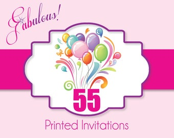 "Printing Services - 55 Custom Printed Invitations with White Envelopes 5"" x 7"" or 4"" x 6"""