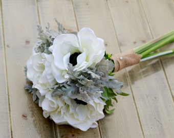 Silk Winter Anemone White and Grey Wedding Bouquet