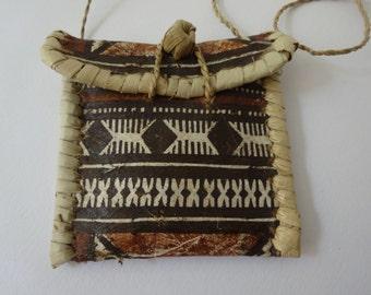 Vintage Tribal Handwoven Hand Dyed Straw Island Money Bag Purse, Solomon Islands