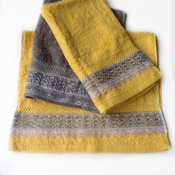 Yellow Decorative Towel Set Yellow Hand Towel Set Of 3 House