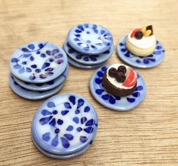 10 Miniature Plate,Ceramic Plate Miniature,Miniature food Plate,Dollhouse Plate,Small Plate