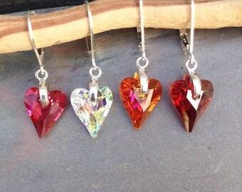 Swarovski crystal earrings/heart/love/mothers day