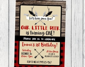 Deer Flannel Any Age: Personalized birthday invitation- ***Digital File*** (Deer-FlannelRed)