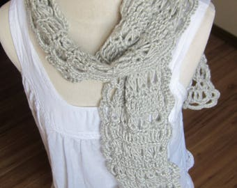 Crochet Scarf,Irish Lace Scarf,Boho Scarf,Silver Scarf,Silver Irish Lace,Women's Fashion,Lace Scarf,Gypsy Scarf,Trendy Scarf,Teen Scarf,Gift