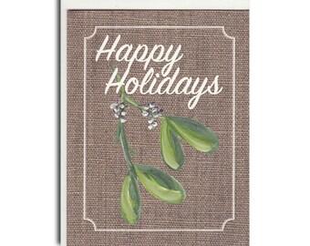 Mistletoe on Burlap Notecard - Mistletoe Card - Mistletoe Stationary