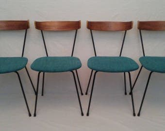 Clifforfd Pascoe set of four dining chairs with teak backrest, 1950s