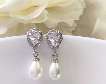 zirconia post ivory  pearl earrings bridal pearl earring pearl drop earring ivory  pearl earring bridesmaid pearl earring wedding earrings