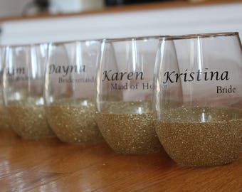 Wedding Party Personalized Glitter Wine Glass