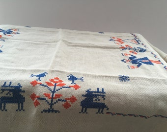 Antique embroidered table cloth Swedish vintage table cloth Shabby Square table cloth White orange blue table cloth