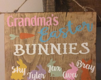 Grandma easter egg etsy grandmas easter bunnies personalized sign easter decor spring decor 8x10 wood sign negle Gallery
