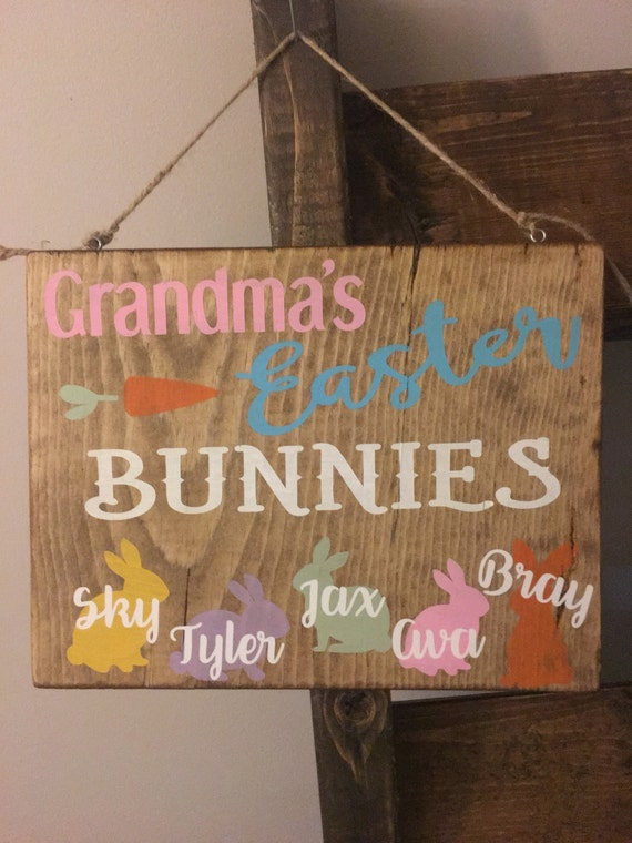 Grandmas easter bunnies personalized sign easter decor like this item negle Gallery