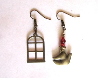 Industrial Chic Freebird Mismatched Earrings
