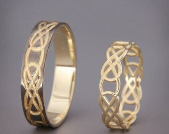 14K Black and Bright Gold Celtic Knot Wedding Rings Set | Handmade 14k gold Celtic wedding Rings | His and Hers Wedding Bands Set