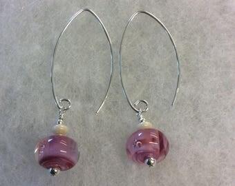 Pink swirl lampwork sterling silver earrings.
