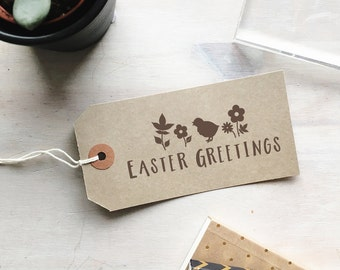 Easter Greetings Stamp   Happy Easter Stamp - Easter Gift Tags - Easter Cards - Baby Chick