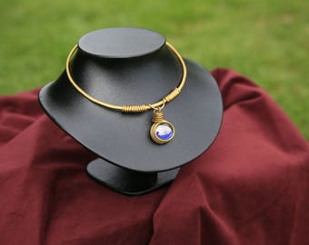 Brass and glass necklace