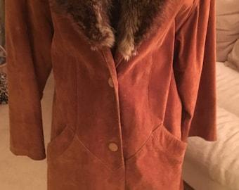 Fabulous Vintage Split End Ltd Genuine Suede and Fox Fur full length Women's Coat 1970's made in Korea Near MINT Condition