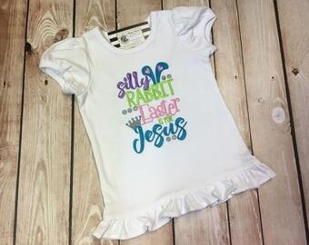 Girls Easter Shirt, Easter Shirt, Toddler Easter Shirt, Easter is for Jesus Shirt, Girls Ruffle Easter Shirt, Christian Easter Shirt