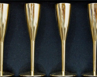 Elegant Gold Plated Stemware Cordials Liquors, Apertifs, Sherrys, After Dinner Drinks German Made Excellent Condition