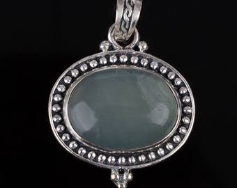 Light Green Agate Necklace Pendant Tibetan Silver Ethnic Long Chain Pendent Agate Jewelry