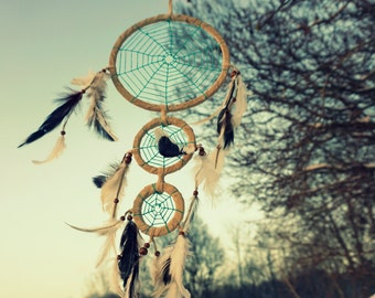 Turquoise Spider web Dream catcher. Gypsy. Nomad. Natural feathers. For sale