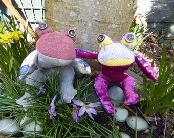 Cuddly frogs made from soft clean recycled materials, free shipping.