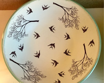 Swallows and branches serving bowl, birds and trees large bowl, swallows and branches fruit bowl. Stoneware, microwave/dishwasher safe. USA