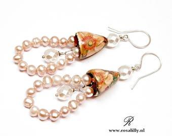 Ceramic bells and fresh water pearl earrings