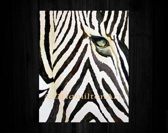Zebra Watercolor Painting, Watercolor Zebra, Watercolor  Zebra Print