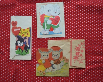 Vintage Valentines - Set of 3 - Animal Themed