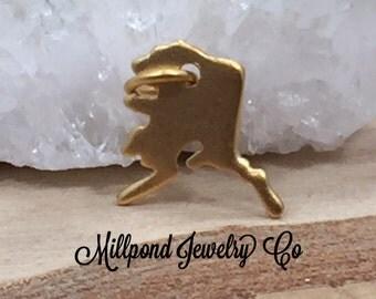 Alaska Charm, Alaska Pendant, Alaska Stamping Blank, Gold Plated Sterling Silver Alaska Charm, Gold Alaska Charm, TINY