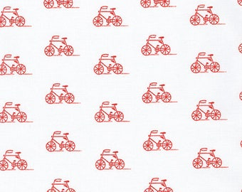 London Calling 7, Cotton Lawn Fabric by the Yard, Bicycle Fabric, Robert Kaufman, Apparel Fabric, Red and White Cotton Lawn, L2070004